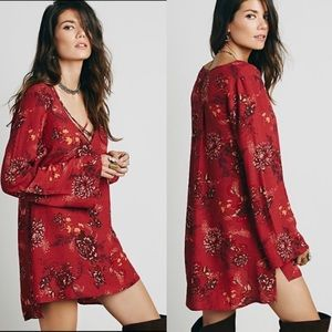 Free People Tunic Dress Top Red Long Sleeve M